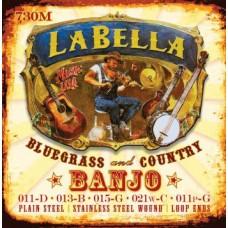 730M-BE Banjo Комплект струн для 5-струнного банджо, нерж.сталь, Medium, 11-11, шарик, La Bella