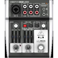 BEHRINGER 302USB микшер c USB, 1 микрофонный моновход, 2 стерео входа