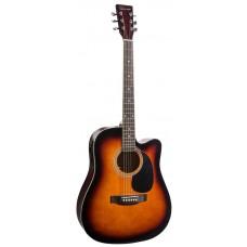 Caraya F631CEQ-BS Электроакустическая гитара, с вырезом, санберст