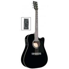 Caraya F641EQ BK Электро-акустическая гитара, с вырезом, черная