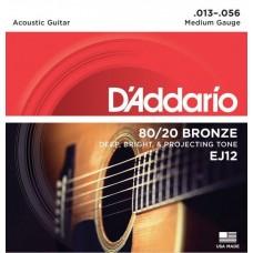 D'ADDARIO EJ12 струны для акустической гитары, бронза, 80/20, Medium, 13-56