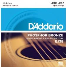 D'ADDARIO EJ38 струны для 12-струнной гитары, 10-47