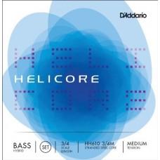 D'ADDARIO HH610 3/4M струны для контрабаса Helicore Hybrid Bass, Medium Tension, 3/4