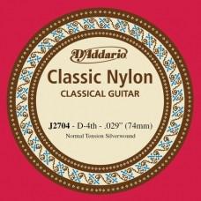 D'ADDARIO J2704 - одиночная 4-я струна для классичекой гитары .030