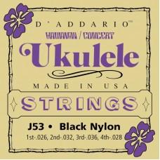 D'ADDARIO J53 струны для укулеле, черный нейлон