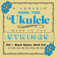 D'ADDARIO J54 струны для укулеле Tenor, серебро/черный нейлон