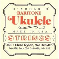 D'ADDARIO J68 струны для укулеле баритон, серебро/чистый нейлон