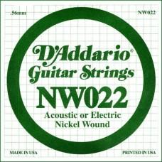 D'ADDARIO NW022 - одиночная струна для электрогитары .022 обмотка никель