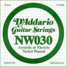D'ADDARIO NW030 - одиночная струна для электрогитары .030 обмотка никель