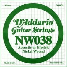 D'ADDARIO NW038 - одиночная струна для электрогитары .038 обмотка никель
