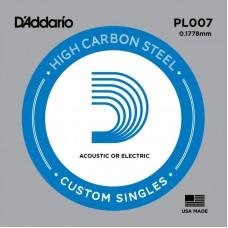 D'ADDARIO PL007 - Plain Steel одиночная струна .007