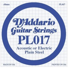 D'ADDARIO PL017 - Plain Steel одиночная струна .017