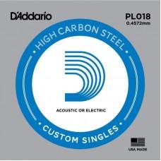 D'ADDARIO PL018 Plain Steel - одиночная струна .018