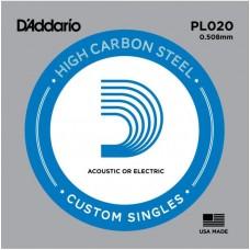 D'ADDARIO PL020 - Plain Steel одиночная струна .020