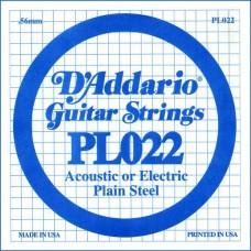 D'ADDARIO PL022 - Plain Steel одиночная струна .022