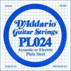 D'ADDARIO PL024 - Plain Steel одиночная струна .024