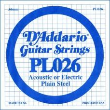 D'ADDARIO PL026 - Plain Steel одиночная струна .026