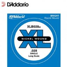 D'ADDARIO XLB028W - одиночная струна для бас-гитары, .028
