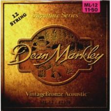 DEAN MARKLEY 2204 Vintage Bronze ML -струны для 12-струн. акустич. гитары (85% медь,15% цинк)