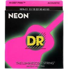 DR NPA-11 (11-50) NEON - струны для акустической гитары, люминесцентные, PINK