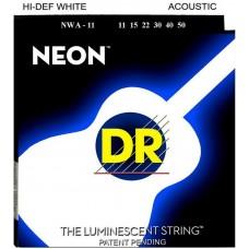 DR NWA-11 (11-50) NEON - струны для акустической гитары, люминесцентные, WHITE