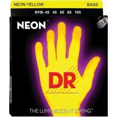 DR NYB-45 NEON (45-105) - струны для бас-гитары, люминесцентные, YELLOW