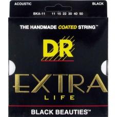 DR BKA-11 (11-50) EXTRA-Life - cтруны для акустической гитары, цветные, BLACK BEAUTIES