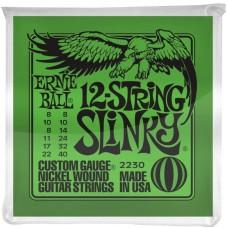 Ernie Ball 2230 струны для 12 струнной электрогитары Nickel Slinky 12