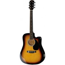 FENDER SQUIER SA-105CE DREADNOUGHT SUNBURST W/FISHMAN PREAMP - гитара электроакустическая