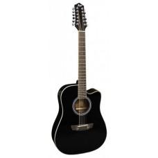 FLIGHT D-200/12 BK CEQ - 12-струнная гитара, с вырезом