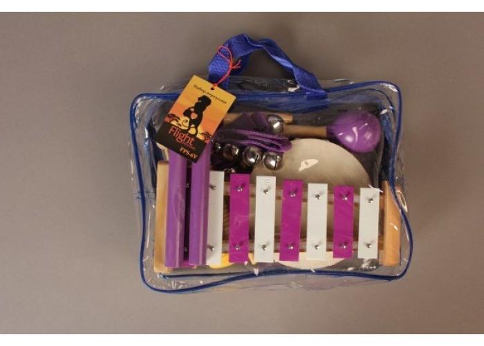 FLIGHT FPS-6V  Набор перкуссии 6 предметов, В комплекте: металлофон(8 нот), гуиро, браслет с бубенчи