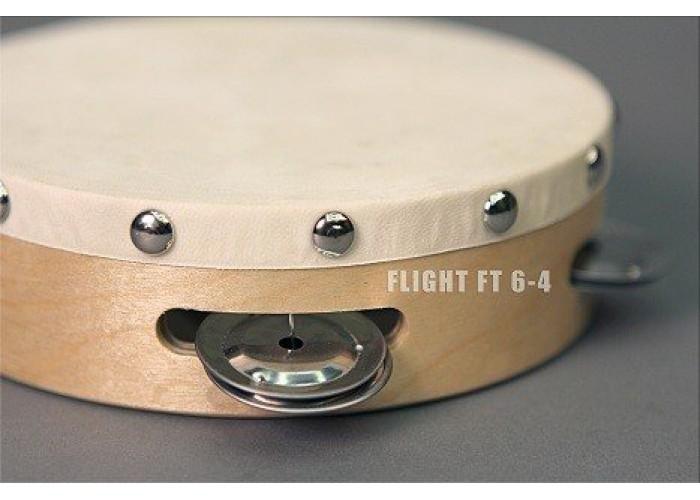 FLIGHT FT 6-4 Тамбурин с 4 джинглами, Размер: 6' (15cм), Состав: дерево, металл
