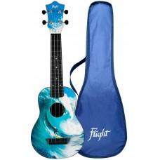 FLIGHT TUS 25 SURF Travel - укулеле тревел, сопрано, с рисунком Серфер, пластик