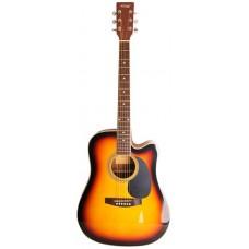 Homage LF-4121C SB Акустическая гитара, санберст, с вырезом