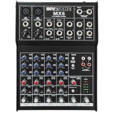Invotone MX6 - микшерный пульт,2 микрофонных входа, XLR и балансный Jack,2 стерео входа.