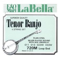 LA BELLA 720M-LE - струны для 4-струнного банджо, петля, 11-33, посеребренные, Medium