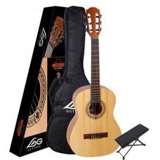 LAG OC44-PACKEX - гитарный комплект - классическая гитара + чехол + подставка для ноги