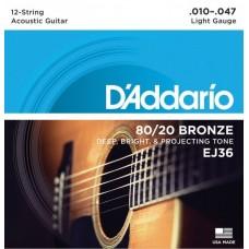 D'ADDARIO EJ36 - струны для 12-струнной гитары