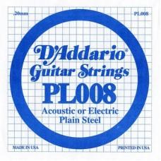 D'ADDARIO PL008 - Plain Steel - одиночная струна  .008
