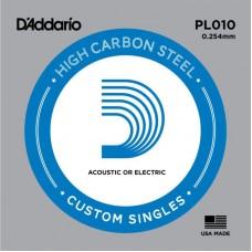 D'ADDARIO PL010 - Plain Steel - одиночная струна .010