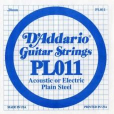 D'ADDARIO PL011 - Plain Steel - одиночная струна  .011