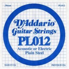 D'ADDARIO PL012 - Plain Steel - одиночная струна .012