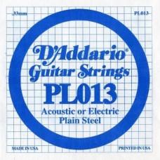 D'ADDARIO PL013 - Plain Steel - одиночная струна .013