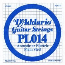 D'ADDARIO PL014 - Plain Steel - одиночная струна .014