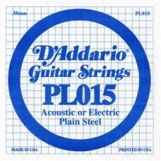 D'ADDARIO PL015 - Plain Steel - одиночная струна .015