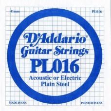 D'ADDARIO PL016 - Plain Steel - одиночная струна .016