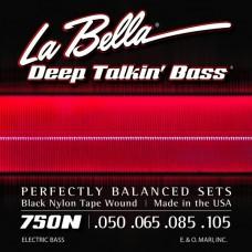 LA BELLA 750N - струны для бас-гитары, черный нейлон Black Nylon