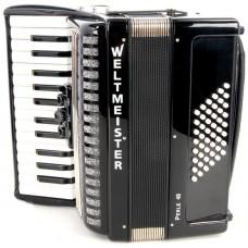 Weltmeister Perle 26/48/II/3 BK аккордеон 2/4, черный, ремни и кейс в комплекте