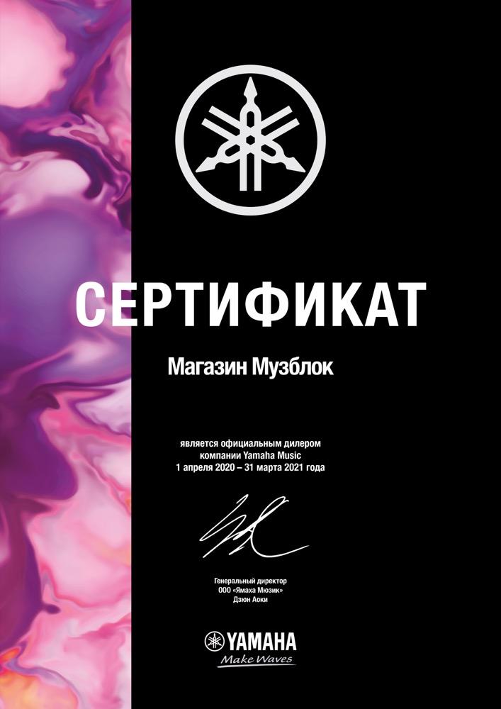 Музблок, сертификат дилера Ямаха 2020-2021
